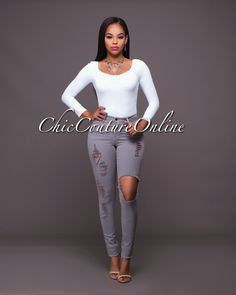 Chic Couture Online - Evinna Grey Destroyed Denim Jeans.(http://www.chiccoutureonline.com/evinna-grey-destroyed-denim-jeans/)