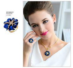 Occident Luxury Fashion Rose Gold Inlay Rhinestone Camellia Navy Bride Wedding Jewelry Set