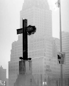 a cross at ground zero - found after the devastation, not built.