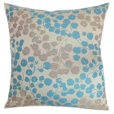 Down-filled cotton pillow.Product: PillowConstruction Material: Cotton cover and down fillColor: Blue ...