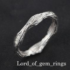 Hand Crafted Stackable Pave Diamonds 14K White Gold Eternity Wedding Twig Ring   eBay