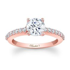 Rose Gold Engagement Ring - 7904LPW - Classic styling with a modern flair for the woman who values tradition, this rose gold diamond engagement ring features a prong set round diamond center adorned with shared prong set diamonds cascading down the shoulders.    Also available in yellow or  white gold, 18k and Platinum.