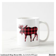 Shop Lumberjack Mug, Moose Silhouette Red & Black Plaid Coffee Mug created by LittleStuffShoppe. Moose Silhouette, Parks Canada, Mugs For Men, Red And Black Plaid, Mountain Man, Buffalo Plaid, Coffee Mugs, Cricut, Camping