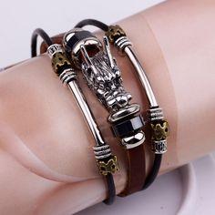 bracelet men Accessoires homme 2016 Tibetan silver men leather bracelet  fashion… d985c26fc9