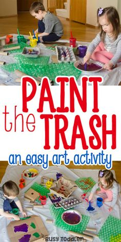 Paint the Trash - Paint the Trash: Easy Process Art – love this quick toddler art activity! Preschool Art Projects, Art Activities For Toddlers, Earth Day Activities, Preschool Lessons, Process Art Preschool, Recycling Activities For Kids, Therapy Activities, Reggio Art Activities, Spring Activities