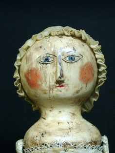 Robert Young Antiques - Folk Art Collection. Primitive wooden doll #FolkArt