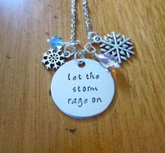 "Frozen Inspired Necklace. Elsa ""Let The Storm Rage On"". Frozen. Let It Go. Swarovski Elements Crystals. Snowflakes. Frozen Gift. by WithLoveFromOC (item: 2016421910)"