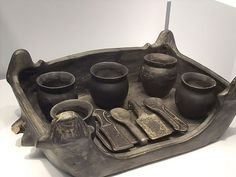 Etruscan Foculum (Serving Tray) with Jars and Implements from Chiusi A Tomb Group 550-500 BCE, Earthen Bucchero ware