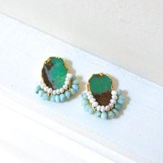 Chrysoprase geode raw stone stud earrings