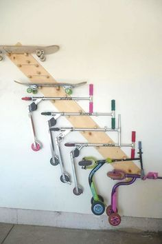 Garage Storage and Organization Ideas. Usually, we skip the garage when it's time to organize, but it's generally one of the most cluttered spaces of our Garage Organization Tips, Diy Garage Storage, Storage Hacks, Shed Storage, Wall Storage, Garage Shelving, Workshop Organization, Bicycle Storage Garage, Workshop Ideas
