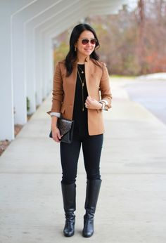 Understated Classics 1 -- tan blazer + black skinny jeans + black boots + long gold necklaces