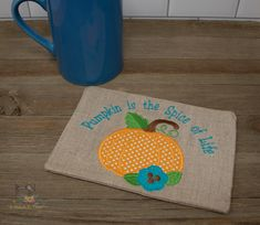 I am so ready for fall! This is our newest ITH Mug Rug...who loves pumpkins? Use discount code: ASITsafe25 and get 25% off this design and all others at www.astitchintimedesigns.com Pumpkin Uses, Pumpkin Spice, Custom Embroidery, Pumpkins, Spices, Reusable Tote Bags, Printing, Coding, Stitch