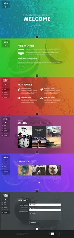 Fresh is a fully responsive, modern one page template. It contains all basic features for your content. It's full of fresh colors which can attract users.
