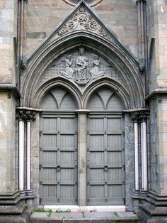 Door at Nidaros Cathedral in Trondheim, Norway - Founded c. 1070