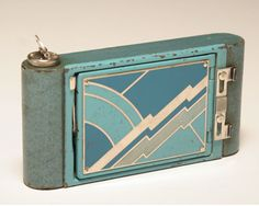 Kodak folding Art Deco camera petite, 1929. @designerwallace Learn about your collectibles, antiques, valuables, and vintage items from licensed appraisers, auctioneers, and experts. http://www.bluevaultsecure.com/roadshow-events.php