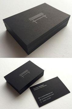 Sleek Black On Black Minimalist Business Card Design