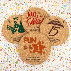 Kids Birthday Personalized Round Cork Coasters- Add some fun to your next birthday bash! Our Personalized Round Cork Coasters are a beautiful, eco-friendly favor that's perfect for spicing up any celebration! To personalize them, you can choose a des Birthday Party Favors, 1st Birthday Parties, Boy Birthday, Cork Coasters, Custom Coasters, Winter Theme, White Elephant Gifts, Gifts For Family, Crafts