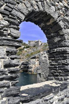 Stone window, Doria Castle, Portovenere, Italy La Spezia Liguria http://www.prolocoportovenere.it