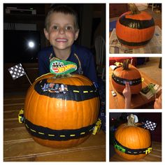 Hot Wheels Pumpkin!   This was my son's idea for his pumpkin decorating contest at school!  So proud of his original idea... :)   Painted road (took a few coats), construction paper stripes with glue stick, hot glued on the cars, and used car packaging to make sign for top.  Hand colored white paper for flag, glued around floral wire and stuck into pumpkin.   Hope you enjoy and make with your Hot Wheels fanatic!!! #hotwheels #halloween #pumpkin