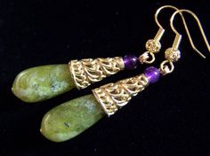 2 Peridot Green Jade earrings Purple Amethyst by pinkowljewelry
