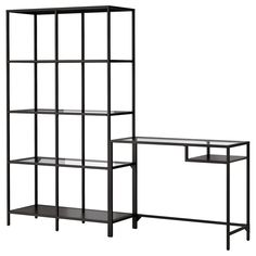 VITTSJÖ Shelving unit with laptop table, black-brown, glass, cm. Tempered glass and metal are durable materials that provide an open, airy feel. Table with work surface and storage inside for a laptop turns any small space into a functional work space. Ikea Laptop Table, Ikea Desk, Ikea Svalnas, Kallax Desk, Glass Shelving Unit, Shelving Units, Foldable Table, Ikea Family, Tempered Glass Shelves