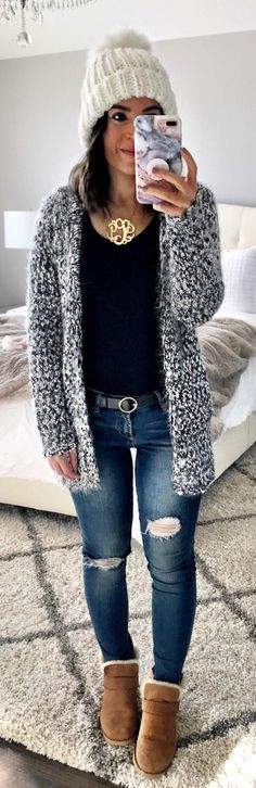 #winter #outfits  grey knitted cardigan