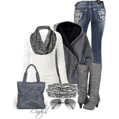 """Gray and White"" by cindycook10 on Polyvore"