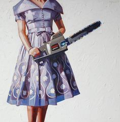 What's more alluring than a pastel painting of a woman with power tools and murderous intent? *swoon*