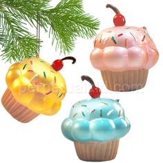 CUPCAKE ORNAMENTS  Cupcakes in your Christmas Tree?!?  Wait, yes, that's awesome!  Soft sugary goodness hanging from your tree!  Each one of our painted glass Cupcake Ornaments has a different color icing with a nice scatter of sprinkled topping and a shiny  glass cherry on top.  Great for holiday décor or party gifts!    Cupcakes make the world go round!  #methodholidayhappy