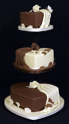 3 Tier Heart Shaped Wedding Cake I call this 1/2 n' 1/2