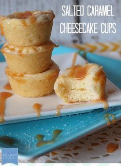 Salted Caramel Cheesecake Cups. Easy cheesecake cups with a great sweet/salty combo! #recipes #dessert