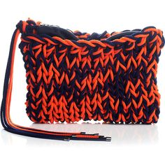 Roksanda Ilincic Navy And Red Yarn Clutch (5.835 BRL) ❤ liked on Polyvore featuring bags, handbags, clutches, fringe purse, woven handbags, roksanda ilincic, red clutches and red fringe purse