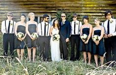 Thought The Groomsmen Attire Would Be Easy. Groom Groomsmen Attire For Beach Wedding Opinion Pleas. Casual Groomsmen, Groomsmen Suspenders, Bowtie And Suspenders, Groomsmen Fashion, Casual Wedding, Wedding Attire, Wedding Dresses, Black Bridesmaid Dresses, Brides And Bridesmaids