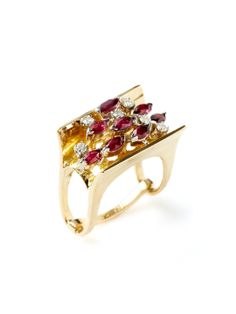 Estate Ca. 1950's Ruby & Diamond Geometric Rectangle Ring by Tara Compton at Gilt