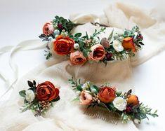 Wedding Flower Crowns and Bridal Headpieces от LisaUaShop на Etsy Bridal Bouquet Blue, Bridesmaid Flowers, Bridal Flowers, Burgundy Flowers, Faux Flowers, Flowers In Hair, Orange Roses, Flower Girl Crown, Flower Crown Wedding