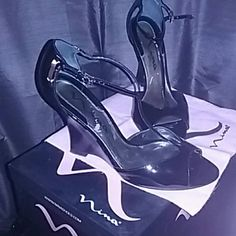 Nina Black Heels Black heels with strap Nina Shoes Heels