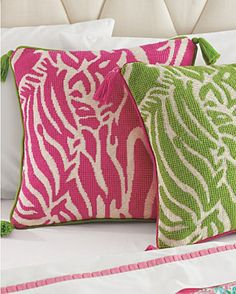 Garnet Hill Pink & Green Pillows