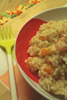 Hoje para jantar ...: Risotto de abóbora, bróculos e camarão