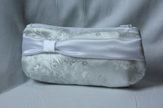 White Brocade Bridal Clutch with Satin Sash by BarefootBagShop