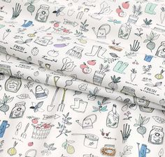 Digital Textile Printed Cute Stuffs Cotton by the yard width