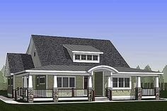 Wraparound porch with barrel arch. Rear porch spanning the entire home. Vaulted foyer. Open floor plan. Master on main. Two beds up. Just over 2,000 sq. ft. That's Architectural Designs Exclusive House Plan 18284BE in summary. Ready when you are. Where do YOU want to build?