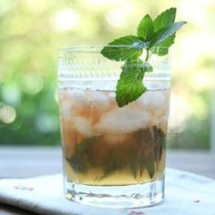Ginger, bourbon and mint- a most refreshing cocktail to start the evening...