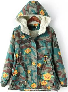 Green Hooded Long Sleeve Camouflage Rose Print Coat 55.00
