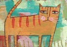 Original Whimsical Orange Tabby Cat painting Outsider Naive Folk Art SFstudio | eBay