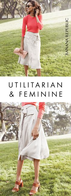 This utility skirt is super versatile and looks great with sweaters, tees, or tanks tucked in. As an easy neutral, it can pair with a range of printed or striped tops — or even a pop of color. Shop Banana Republic.