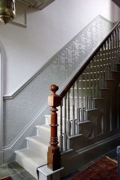 New ideas house entrance hallway railings. paint the dado rail all the way up the stairs as well Dado Rail Hallway, Hallway Paint, Grey Hallway, Hallway Flooring, Dado Rail Living Room, Entryway Paint, Hotel Hallway, Tiled Hallway, Modern Hallway