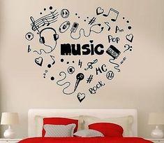 Decor Music Heart Headphones Cool Decor Rock Pop Song For Bedroom Uniq – Bedroom Themes, Bedroom Decor, Bedroom Ideas, Music Theme Bedrooms, Rock Bedroom, Music Rooms, Wall Stickers, Wall Decals, Music Heart