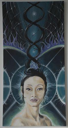 """I am"" Acryllic painting on canvas 40x80 cm. By Lisbeth Thygesen / new moon / Sacred Geometry <3"