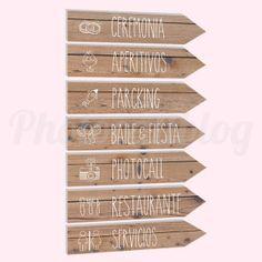 Flechas y señales imitación madera - de venta en www.photocallblog.comi
