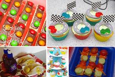 Transport party food ... race track cupcakes, traffic light biscuits, teddy bear race cars